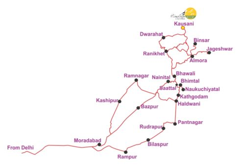 Delhi to kausani map